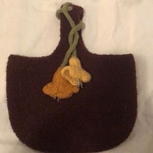 Handmade felted wool purse